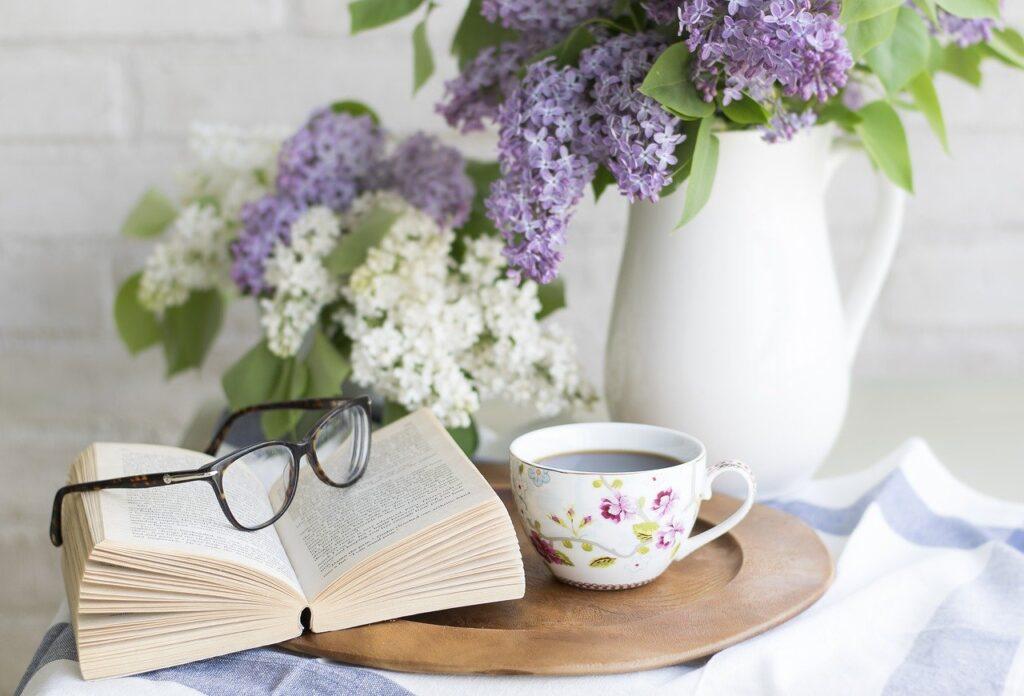 coffee, book, flowers